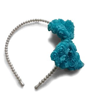 Aakriti Creations Bow With Roses Hair Band - Blue