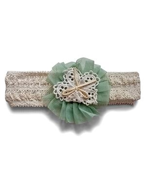 Aakriti Creations Flower On Crotia Headband - Light Green