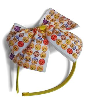 Aakriti Creations Smileys On The Bow Hair Band - Yellow