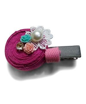 Aakriti Creations Pearl Hairclip - Hot Pink