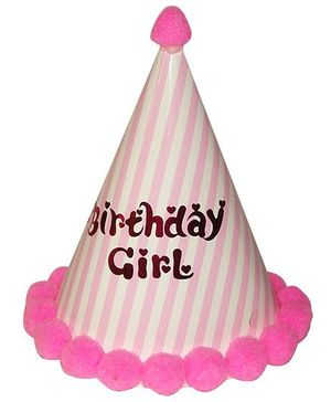 Shopaparty Striped Happy Birthday Party Hat - Pink