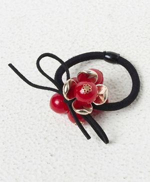 Treasure Trove Flower With Pearl Pony Tail Holder - Red