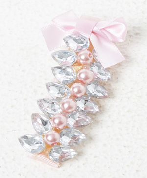 Treasure Trove Stone And Pearl Studded Clip - Pink