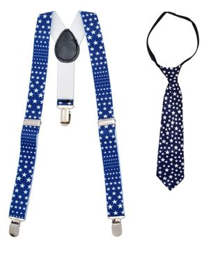 Miss Diva Stary Suspender With Tie Set - Blue