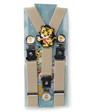 Kid O Nation Suspenders Tiger Patch - Beige