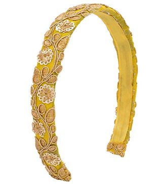 Miss Diva Brocade Tape Hair Band - Yellow