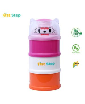 1st Step Milk Powder Container 3 Way - Pink White Yellow
