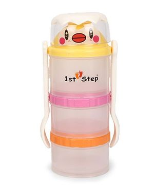 1st Step Food Container With Fork And Spoon - Yellow Pink Orange