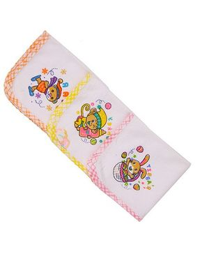 MomToBe Multi Printed Napkins Pack Of 3 - White Orange Yellow Pink