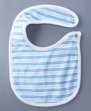 Bachha Essential Stripes Printed Baby Bib - Blue