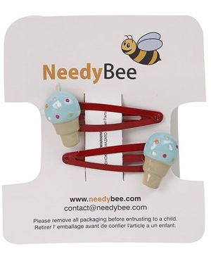 NeedyBee Ice Cream Snap Clip Pack Of 2 - Blue & Red