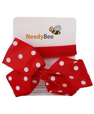 NeedyBee Soft Elastic Bow Headband With Dot Print - Red
