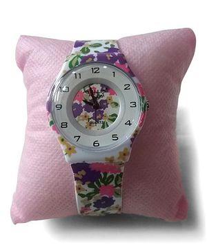 Aakriti Creations Floral Print Slim Analog Watch - Purple & Pink