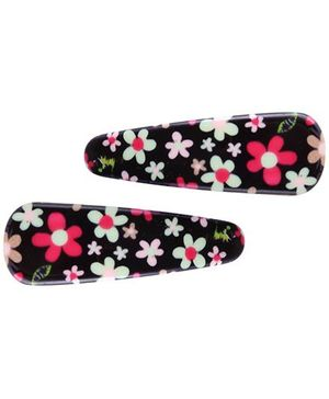 Fab N Funky Snap Clips With  Flower Design-1 Pair