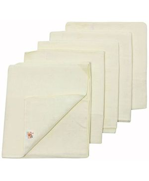Tinycare Square Cloth Baby Nappy Yellow Large - Set Of 5