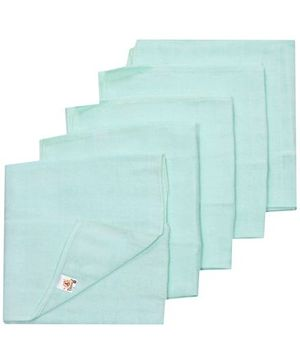 Tinycare Square Baby Nappy Green Medium - Set of 5