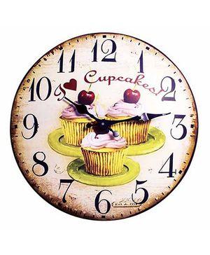 Little Nests Cupcake Theme Clock - Brown