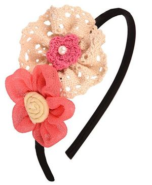Knotty Ribbons Handmade Two Flower Hairband - Pink