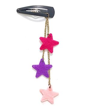 Knotty Ribbons Dangling Stars Snap Clip - Pink & Purple
