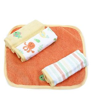 Owen Terry Wash Cloth Fish Embroidery Pack Of 4 - White & Orange