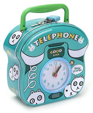 Telephone Shaped Coin Bank With Clock - Blue