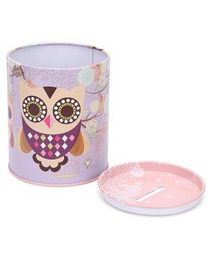 Round Shape Piggy Bank Owl Design - Pink & Purple