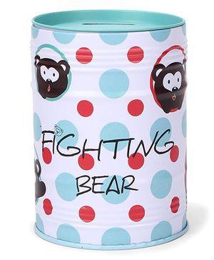 Money Bank Fighting Bear Print - Aqua
