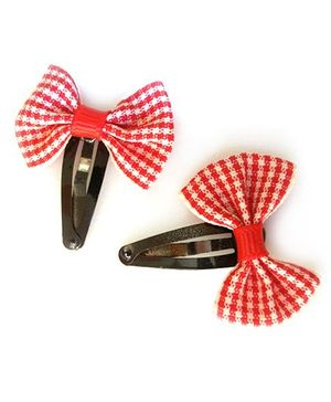 Tiny Closet Set Of 2 Checkered Bow Snap Clips - Red