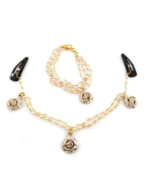 Tiny Closet Snap Cilps With Flower Headchain & Bracelet Set - Golden