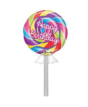 Bling it On Swirl Candy Happy Birthday Balloon - Multi Color