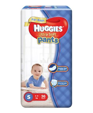Huggies Ultra Soft Pants Small Size Premium Diapers For Boys - 36 Pieces