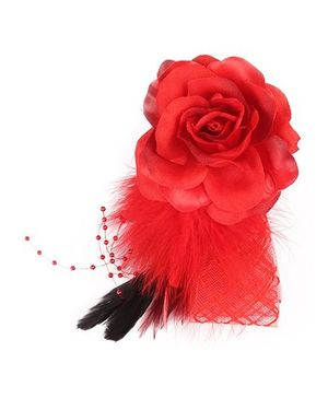 Cutecumber Hair Fascinator Flower Applique - Red