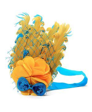 NeedyBee Headband In Flower With Diamond Rhinestone And Feather Embellishment - Yellow