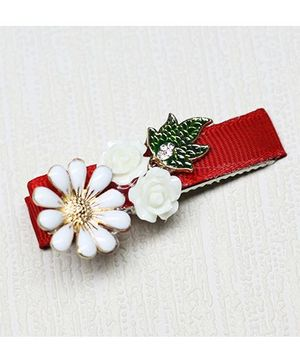 Asthetika Flowers With Leaf Clip - Red & White