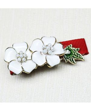 Asthetika Moti Flower With Leaf Clip - Red & White