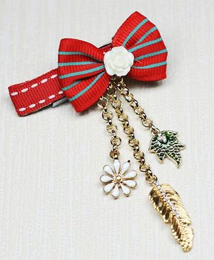 Asthetika Bow With Charms Hair Clip - Red