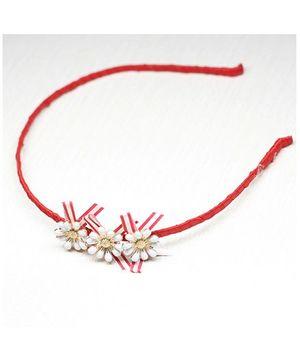Asthetika Tri Flowers Hairband - Red & White