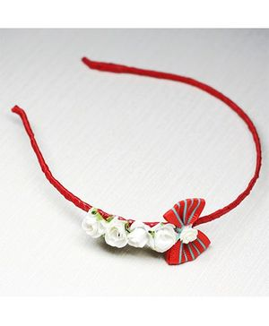 Asthetika Bow With Flowers Hairband - Red & White