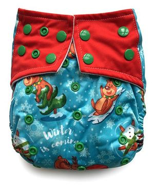 ChuddyBuddy All In One Cloth Diaper With Insert Stitched Inside Fun In Snow Print - Blue