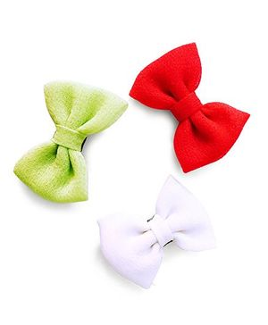 Knotty Ribbons Handmade Bows Alligator Clips - Red Green & White