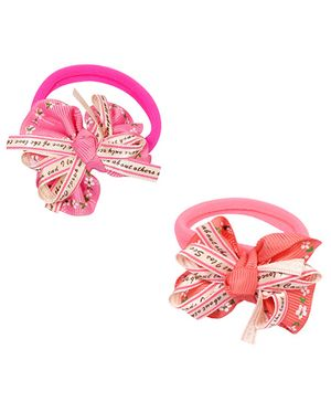 Miss Diva Set of 2 Bow Rubber Bands - Multicolor