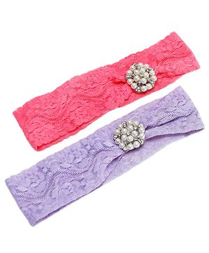 D'chica Set Of 2 Pastels Looks Lace Headbands For Girls - Pink & Purple