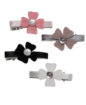 D'chica Set Of 4 Flower Hair Clips - Multicolor