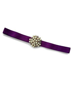 Little Miss Cuttie Elegant Diamond & Pearl Headband - Purple