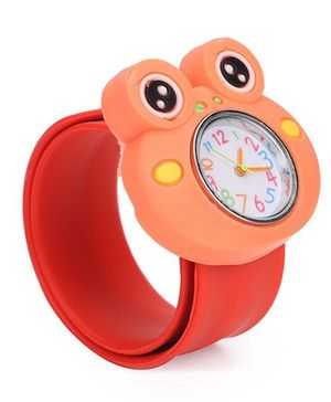 Analog Wrist Watch Frog Shape Dial - Red Orange