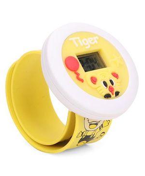 Digital Wrist Watch Tiger Patch Dial - Yellow
