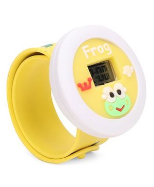 Analog Wrist Watch Frog Patch Dial - Yellow