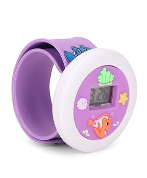 Digital Wrist Watch Fish Patch Dial - Purple