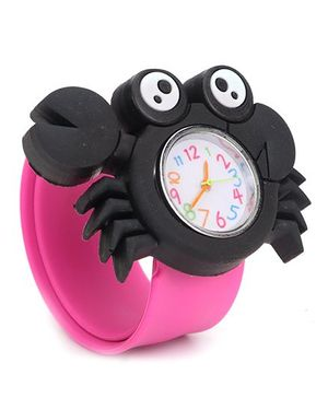 Slap Style Analog Watch Crab Design Dial - Black Pink
