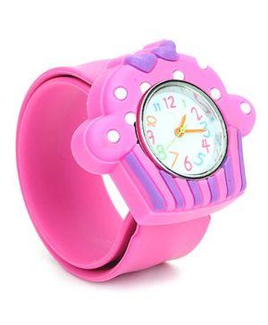 Analog Wrist Watch Ice-Cream Shape Dial - Pink Purple